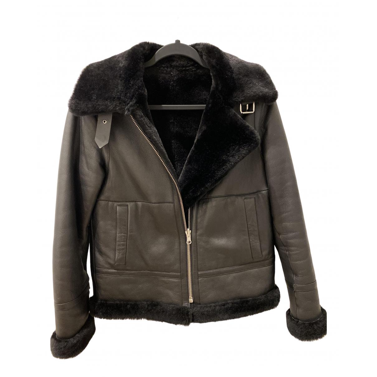 Reiss - Manteau   pour femme en cuir - noir