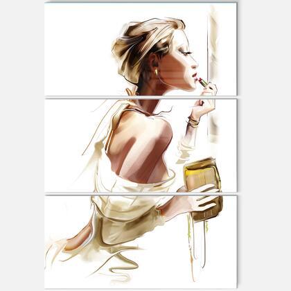 MT6659-3PV Fashion Woman - Multipanel Abstract Portrait Metal Wall Art - 28X36 - 3