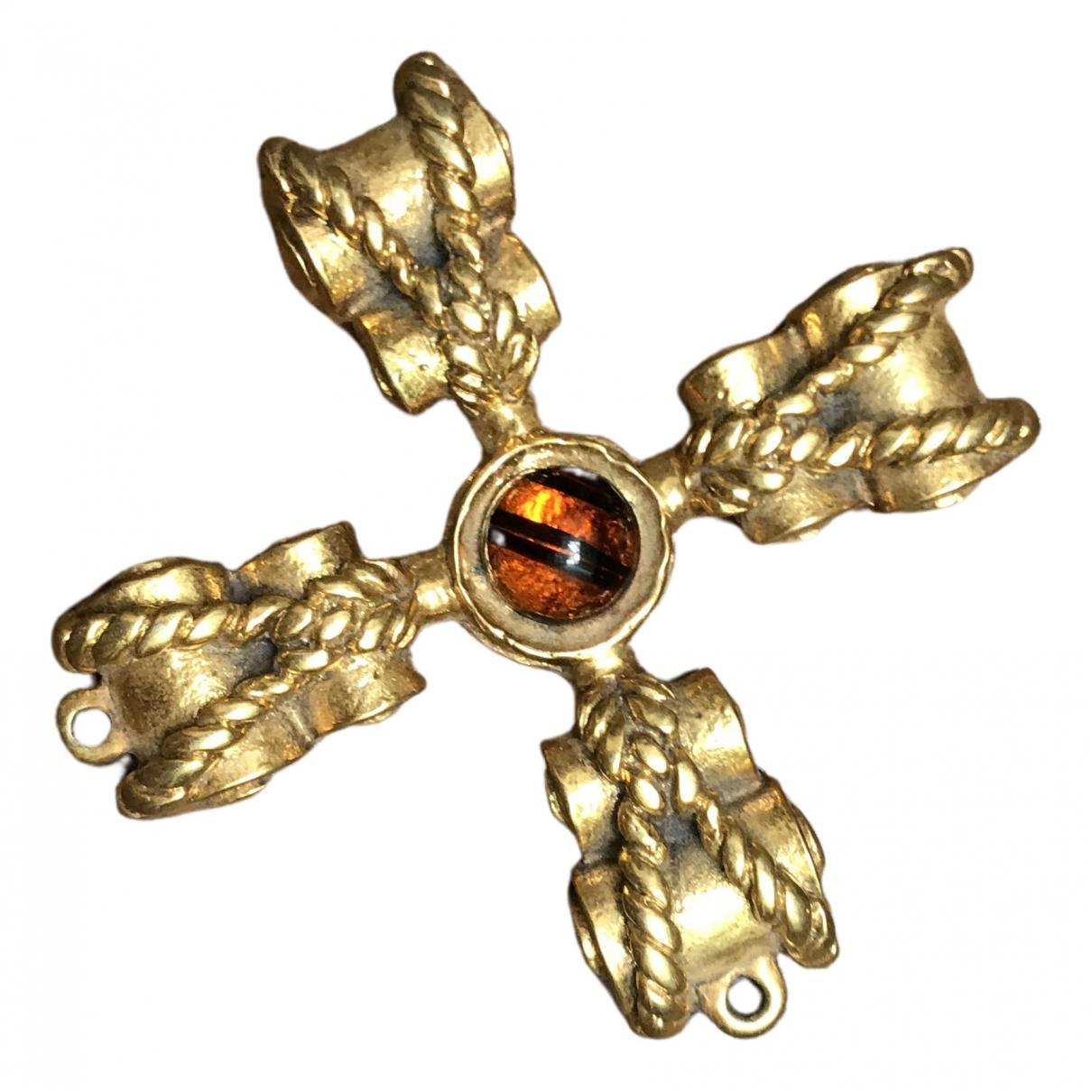 Non Signe / Unsigned Croix Anhaenger in  Gold Metall