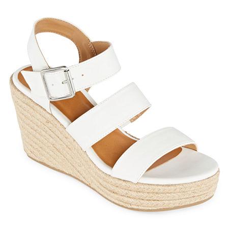 a.n.a Womens Jensen Wedge Sandals, 9 Medium, White
