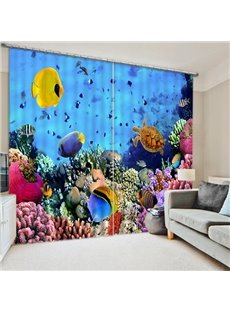 3D Golden Fishes Turtle and Corals Printed Underwater World Custom Decorative Curtain