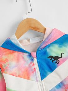 Toddler Boys Tie Dye Dinosaur Print Hooded Jacket