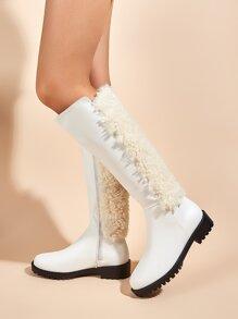 Contrast Faux Fur Knee Boots