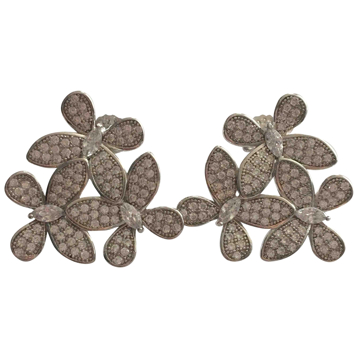 Non Signé / Unsigned Motifs Floraux Silver Silver Gilt Earrings for Women \N