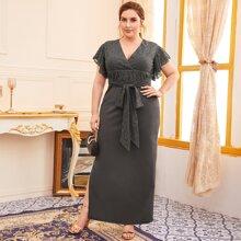 Plus Guipure Lace Panel Tie Front Split Thigh Dress