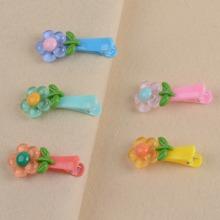 5 Stuecke Kleinkind Maedchen Haarklammer mit Blumen Dekor