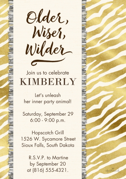 Birthday Party Invites 5x7 Cards, Premium Cardstock 120lb with Scalloped Corners, Card & Stationery -Older, Wiser, Wilder
