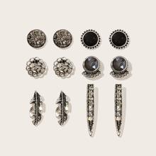 Feather & Flower Rhinestone Stud Earrings 6pairs