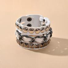 Men Geometric Metal Decor Layered Bracelet