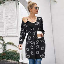 Drop Shoulder Leopard Cardigan Without Belt