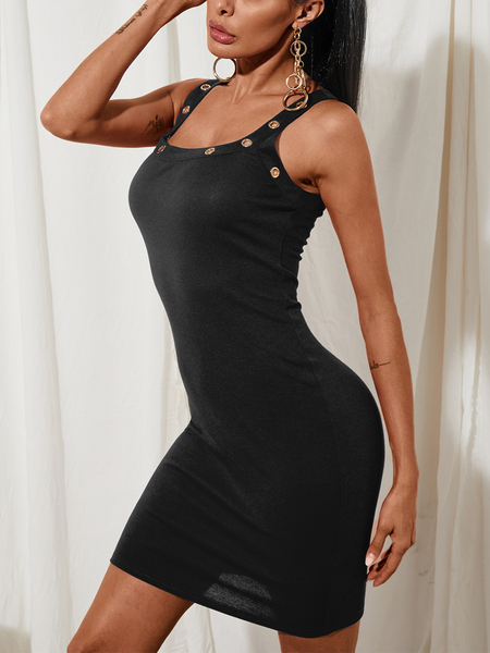 YOINS Black Knit Thick Strap Square Neck Sleeveless Midi Dress