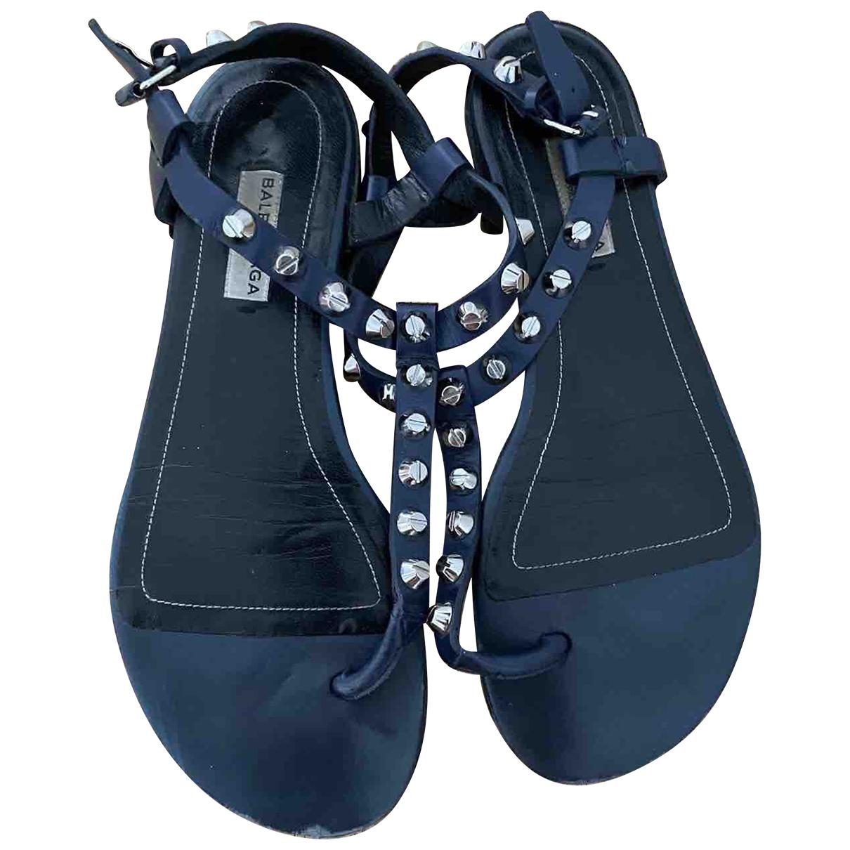 Balenciaga \N Navy Leather Sandals for Women 37 EU