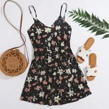 Cami Kleid mit V Kragen und Blumen Muster