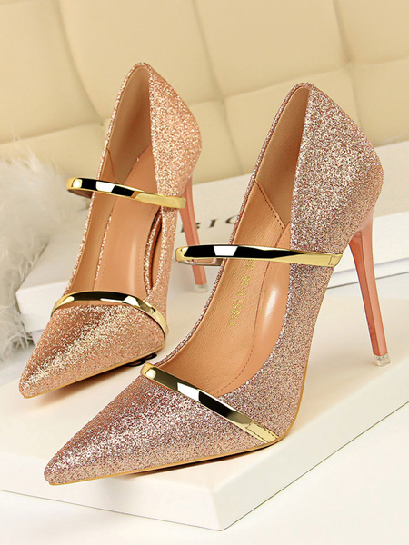 Milanoo Glitter Gold Prom Heels Sparkly Pointed Toe High Heel Evening Shoes