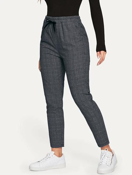 Yoins Grey Check Drawstring Design Pants