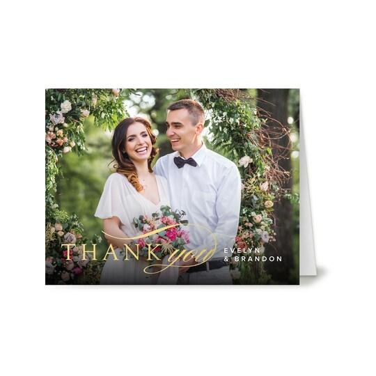 20 Pack of Gartner Studios® Personalized Modern Frame Folded Foil Wedding Thank You Card in Black   4.25