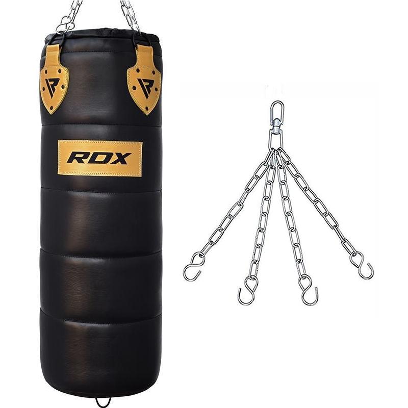 RDX P1 Professional Punch Bag Cowhide Leather Unfilled 4ft Black/Golden