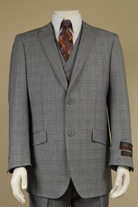 Mens 2 Button Window Pane Plaid Patterned Vested 3PC Suit Light Gray