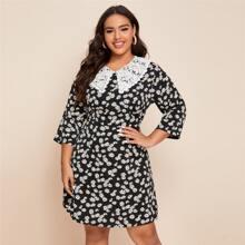 Plus Lace Panel Daisy Print A-line Dress