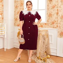 Plus Puff Sleeve Embroidery Collar Floral Buttoned Front Dress