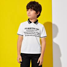 Camisa polo de rayas con estampado de slogan