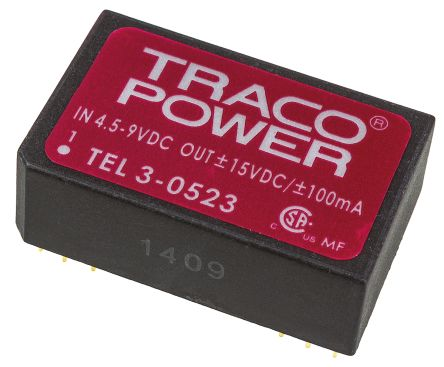 TRACOPOWER TEL 3 3W Isolated DC-DC Converter Through Hole, Voltage in 4.5 → 9 V dc, Voltage out ±15V dc