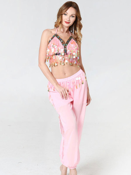 Milanoo Belly Dance Costumes Woman Sequins Jeweled Red Belly Dancer Bra With Pant Halloween