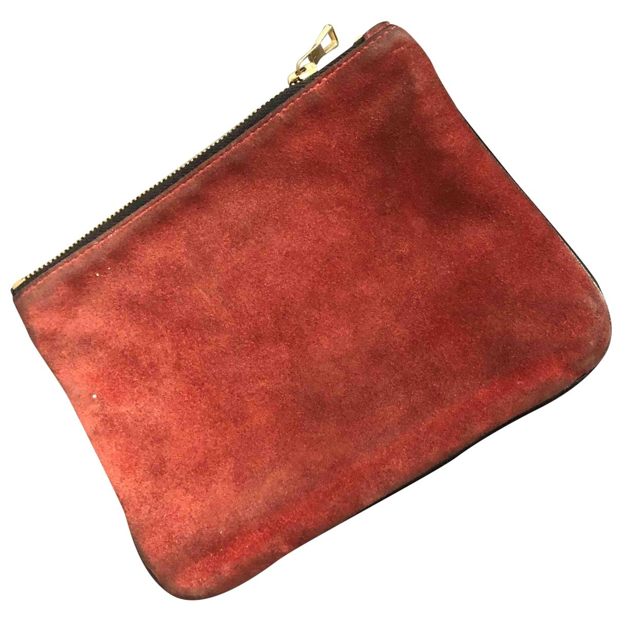 Balmain For H&m - Pochette   pour femme en suede - rouge