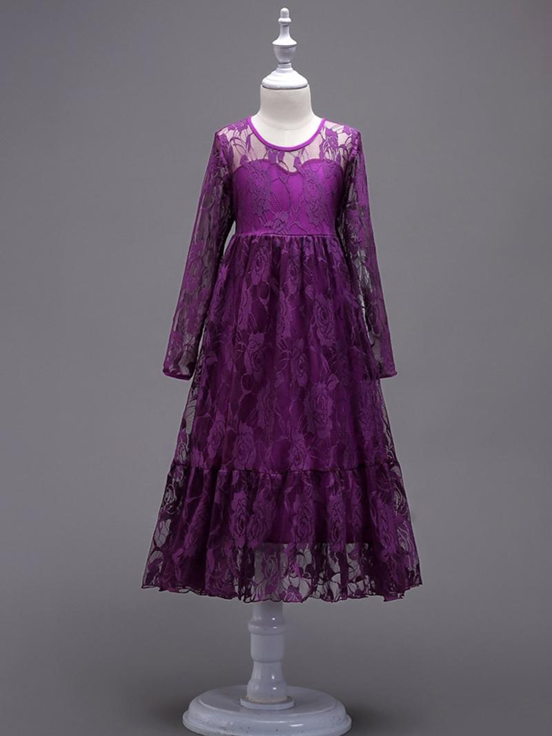 Ericdress Plain Long Sleeve Bowknot Girl's Lace Princess Dress