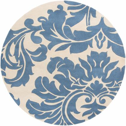 Athena ATH-5076 6' Round Traditional Rug in Denim