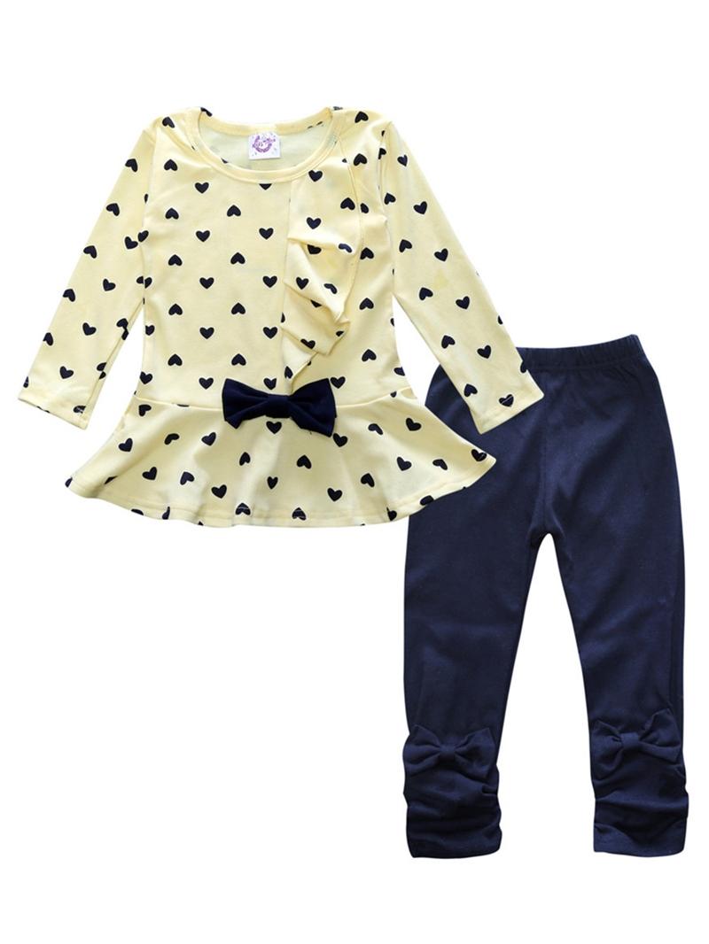 Ericdress Heart Print Bowknot Falbala Baby Girl's 2-Pcs Outfit