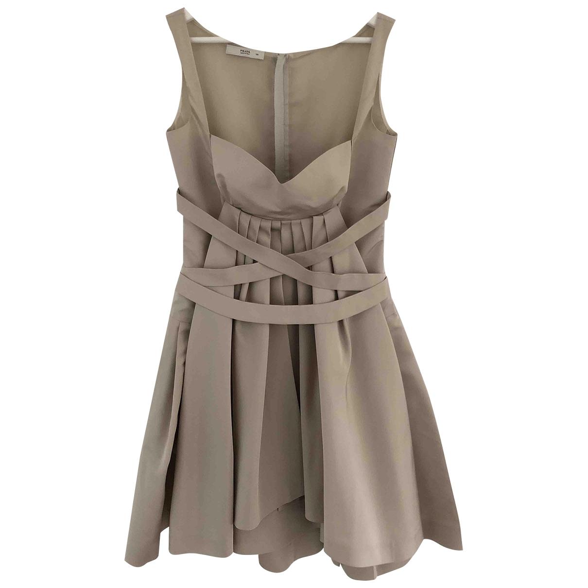 Prada \N Kleid in  Beige Seide