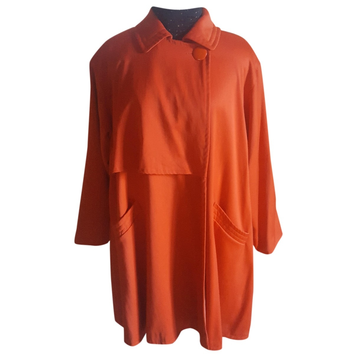 Genny Oversize Orange Wool coat for Women 40 FR
