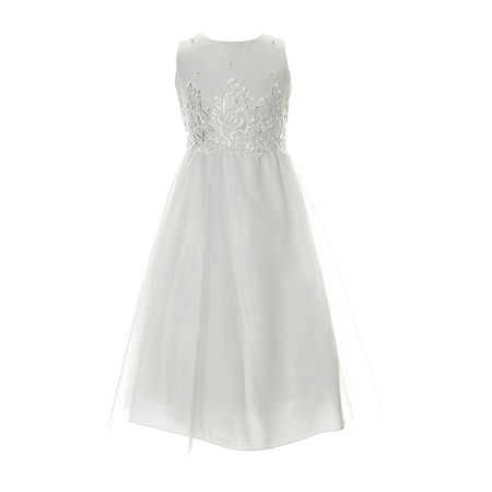 Keepsake First Communion Little & Big Girls Sleeveless A-Line Dress, 7 , White