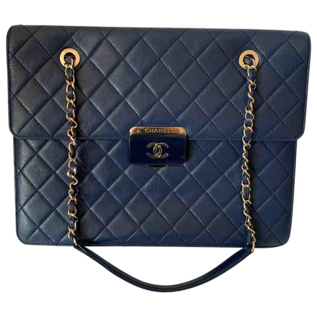 Chanel Grand shopping Blue Leather handbag for Women N