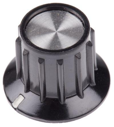 TE Connectivity Potentiometer Knob, Grub Screw Type, 20.2mm Knob Diameter, Black, 6.35mm Shaft