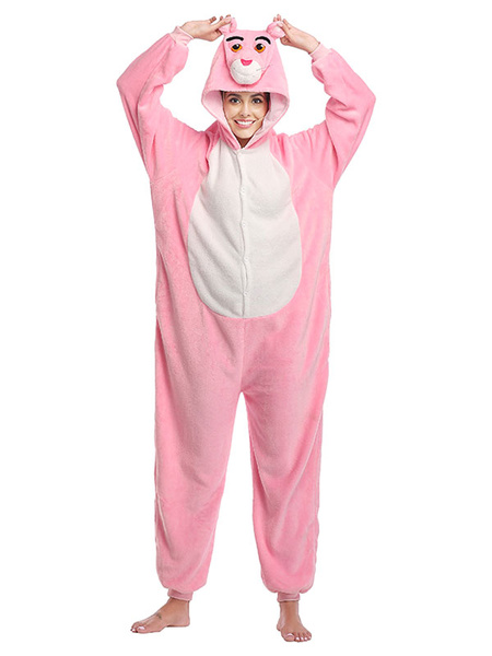 Milanoo Onesie Kigurumi Pajamas Pink Panther Adult\'s Flannel Easy Toilet Winter Sleepwear Animal Costume Halloween