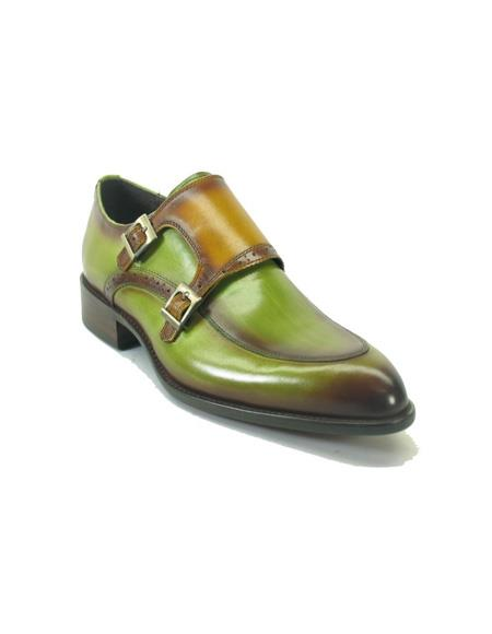 Mens Slip On Shoes by Carrucci - Double Buckle Olive / Cognac