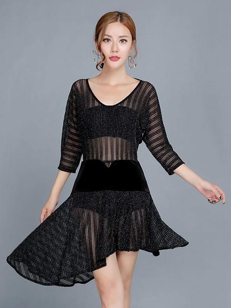 Milanoo Dance Costumes Latin Dancer Dresses Women Black Sheer Dancing Wears Outfit Halloween