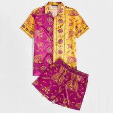 Gespleisstes Hemd mit eingekerbtem Kragen, Paisley Muster & Shorts Set