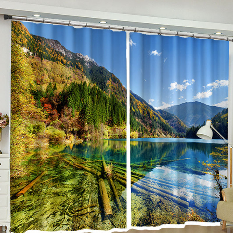 3D Scenery Window Curtains 260g/㎡ Shading Cloth 100% Shading Rate Ultraviolet-Proof Environmentally-Friendly Printing Non-Toxic and Formaldehyde-Free