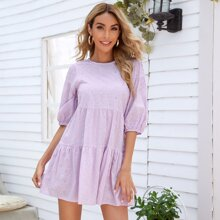 Solid Eyelet Embroidered Babydoll Dress