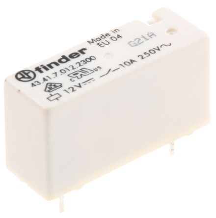 Finder , 12V dc Coil Non-Latching Relay SPNO, 10A Switching Current PCB Mount Single Pole