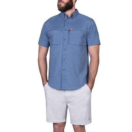 American Outdoorsman Big and Tall Mens Short Sleeve Cooling Moisture Wicking Button-Down Shirt, 4x-large , Blue