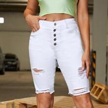 Denim Shorts mit umgesaeumtem Saum, Riss und schraegen Taschen