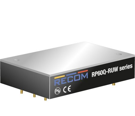 Recom RP60Q 60W Isolated DC-DC Converter Through Hole, Voltage in 16 → 160 V dc, Voltage out 24V dc