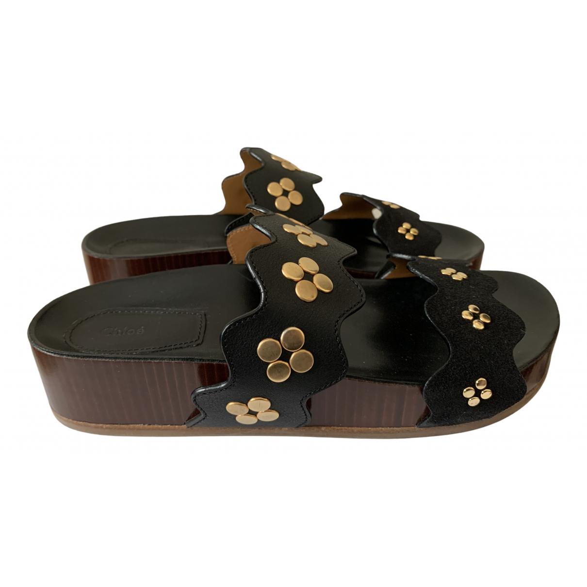 Chloé \N Black Leather Sandals for Women 39 EU
