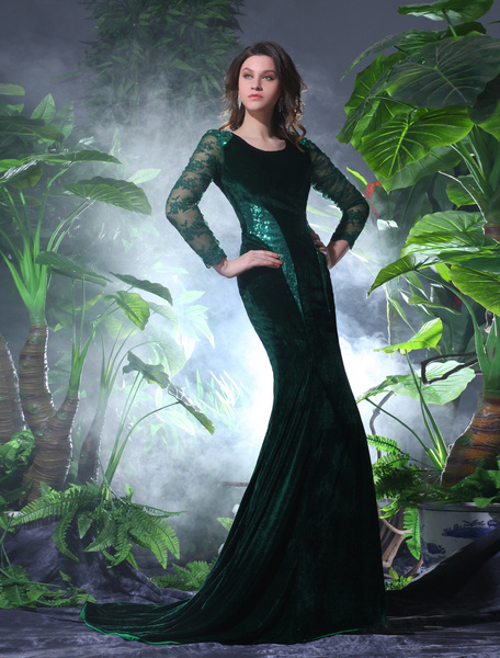 Milanoo Sexy Dark Green Velvet Lace Jewel Neck Shaping Evening Dress