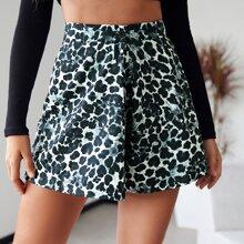 Allover Print Wide Leg Shorts