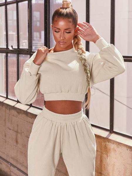Milanoo Women\'s Loungewear 2-Piece Orange Long Sleeve Polyester Cotton Outfit Lounge Wear